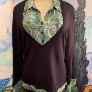 Style&Co. L Black Layered Sequin Long Sleeve Top